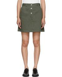 A.P.C. - Khaki Denim Adele Miniskirt - Lyst
