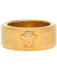 Versace - Gold And Black Logo Ring - Lyst
