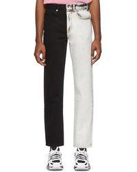 Alexander Wang White And Black Bicolor Five-pocket Jeans