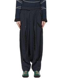 Kiko Kostadinov Pantalon Anthonis bleu marine et noir à fronces