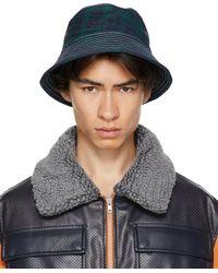 Rassvet (PACCBET) Navy & Green Check Contrast Stitch Bucket Hat - Blue