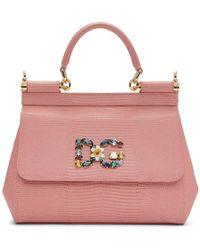 Dolce & Gabbana - Pink Iguana Small Miss Sicily Bag - Lyst