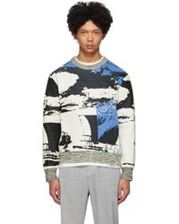 3.1 Phillip Lim Black And Blue Jacquard Sweatshirt