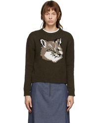 Maison Kitsuné - カーキ Fox Head セーター - Lyst