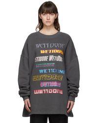 we11done - グレー フリース ロゴ スウェットシャツ - Lyst