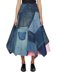Junya Watanabe インディゴ パッチワーク スカート - ブルー