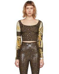 Versace ブラウン Barocco Patchwork ロング スリーブ T シャツ