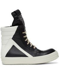 Rick Owens Black And White Geobasket Sneakers
