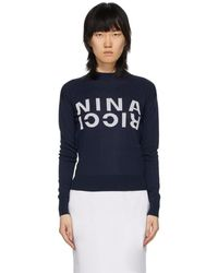 Nina Ricci ネイビー シルク Branded スウェットシャツ - ブルー