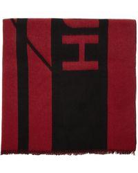 HUGO レッド And ブラック ユニセックス Z スカーフ