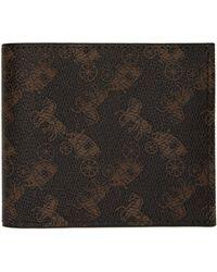 COACH - Brown Double Billfold Wallet - Lyst