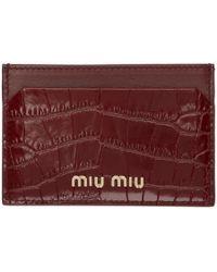 Miu Miu - レッド クロコ カード ホルダー - Lyst