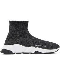 Balenciaga Speed Lt Lurex Knit Sneakers - Black