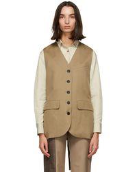 Low Classic Wool Long Vest - Natural