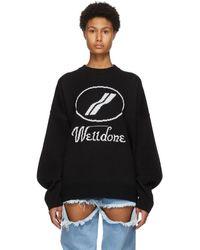 we11done - ブラック ウール ロゴ セーター - Lyst
