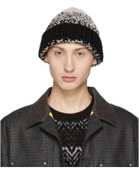 Junya Watanabe - Black And White Thick Yarn Beanie - Lyst