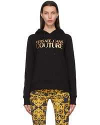 Versace Jeans Couture ブラック & ゴールド ロゴ フーディ
