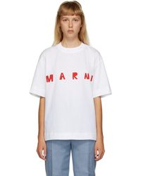 Marni ホワイト ロゴ T シャツ