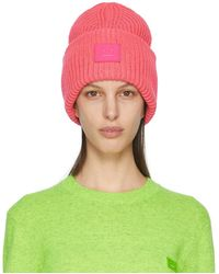 Acne Studios Pink Wool Patch Beanie - Green