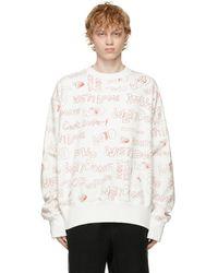 we11done White Graffiti Graphic Sweatshirt