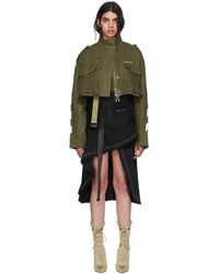 Off-White c/o Virgil Abloh - Green Diagonal Cropped M65 Military Jacket - Lyst
