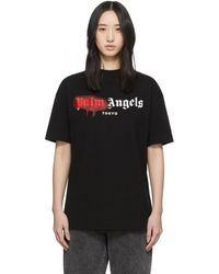 Palm Angels Black And Red Tokyo Sprayed T-shirt