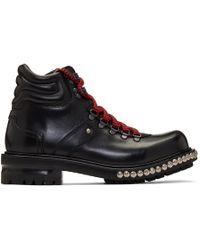Alexander McQueen - Black Studded Hiking Boots - Lyst