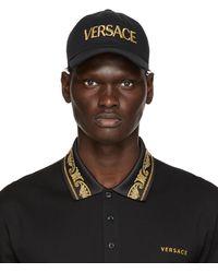Versace ブラック & ゴールド Embroidered ロゴ キャップ