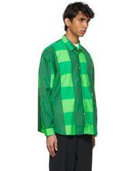 Sunnei Surchemise verte en taffetas à carreaux
