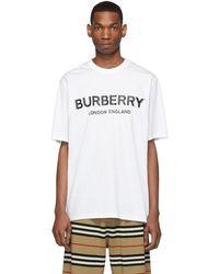 Burberry ホワイト Letchford ロゴ T シャツ