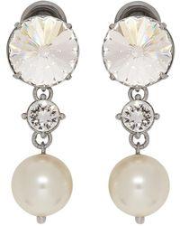 Miu Miu Boucles doreilles a clips argentees Crystal and Pearl - Multicolore