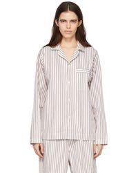 Tekla Chemise de pyjama blanche et brune en popeline à rayures