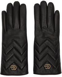 Gucci Black Leather GG Marmont Gloves
