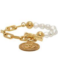 Dolce & Gabbana ゴールド フェイクパール ロゴ コイン ブレスレット - メタリック
