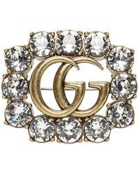 Gucci ゴールド クリスタル GG ブローチ - マルチカラー
