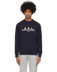 Maison Kitsuné Ssense 限定 ネイビー 3 Yoga Foxes スウェットシャツ - ブルー