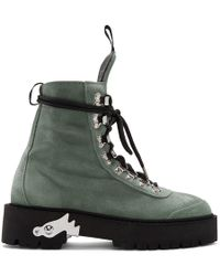 Off-White c/o Virgil Abloh Green Suede Hiking Boots