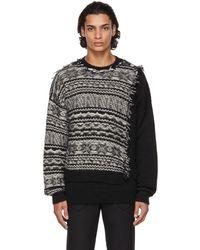 Isabel Benenato ブラック & ホワイト Patchwork セーター