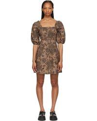Ganni - ブラウン ミニ ドレス - Lyst