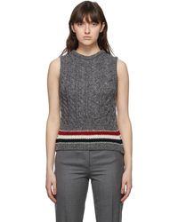 Thom Browne Online Exclusive Grey Mohair Aran Cable Classic Rwb Stripe Vest