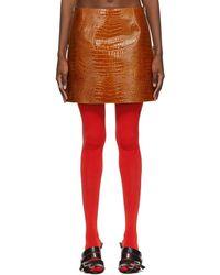 Givenchy タン クロコ ミニスカート - レッド