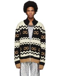 Gucci Black Wool Mirrored GG Zip-up Sweater