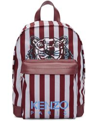 KENZO   Burgundy And Blue Small Striped Tiger Backpack   Lyst