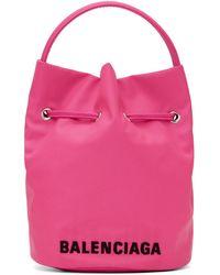 Balenciaga ピンク Xs Wheel ドローストリング バケット バッグ