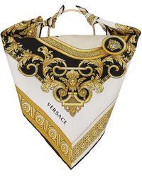 Versace White Silk Ring Head Scarf - Multicolour