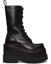 R13 ブラック ミディアム プラットフォーム ブーツ