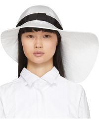 Sacai White Wide Brim Beach Hat
