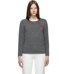 COMME DES GARÇONS PLAY グレー ハート パッチ セーター