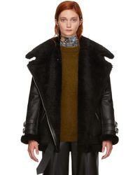 Acne Studios Black Leather And Shearling Velocite Jacket