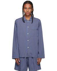 Tekla Blue & Brown Poplin Striped Pyjama Shirt